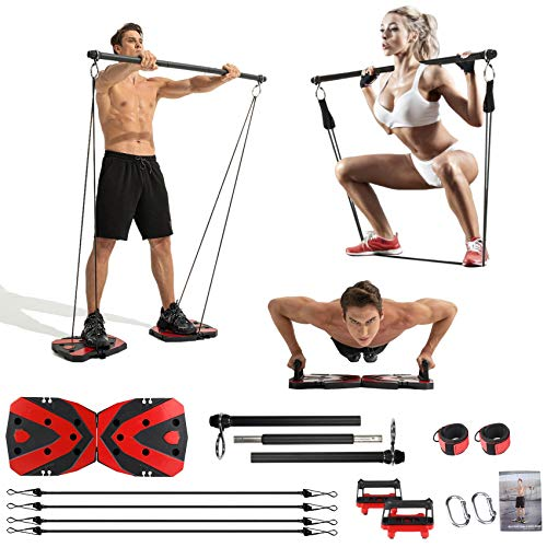 Portable Home Gym with Heavy Resistance Bands bar Set,...