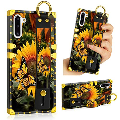 LSL Samsung Galaxy Note 10 5G Case, Sunflower Butterfly Upgraded Wrist Strap Band Kickstand Square Full Body TPU Bumper Shockproof Protective Phone Case for Galaxy Note 10 2019