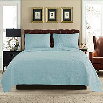 ARTO Mosto 100% Cotton Quilted and Prewashed 3PC Oversized All-Season Luxury Quilt Set/Coverlet Set/Bedspread Set-King/Cal King 110x96/20x36