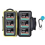 JJC Speicherkarten Tasche Wasserdicht Schutzhülle für 6 CF Compact Flash Karten mit Karabiner