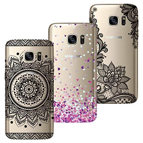 HopMore 3X para Fundas Samsung Galaxy S7 Edge Silicona Transparente Funda Motif Panda Gato Flor Bonita Carcasas Ultrafina Resistente Slim Case Antigolpes Caso Cover Protección - Diseño 1