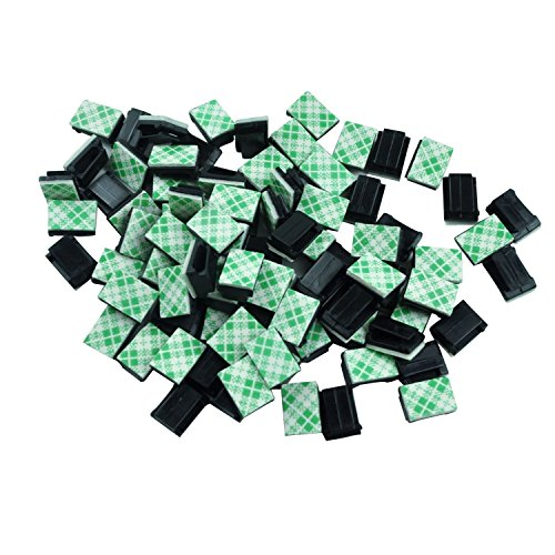 Xshine Adhesive Cable Clips 100PCS, Wire Clips Cable Wire Management Wire Holder Organizer Drop Clamp Cable Tie Holder for Car, Office and Home