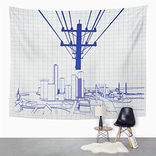 Y·JIANG Tapiz de cable azul, postes de electricidad y estructuras de construcción...