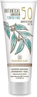 Australian Gold Botanical Sunscreen Tinted Face BB Cream SPF 50, 3 Ounce | Medium-Tan | Broad Spectrum | Water Resistant |...