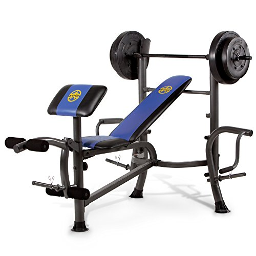Marcy MWB-36780b para principiantes – Press de banca con barra de 35 kg - Banco de musculación completo multifunción – Curl de piernas & Curl de bíceps – Pec Dec Pectorales ⭐