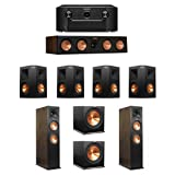 Klipsch Walnut 7.2 System with 2 RP-280FA Tower Speakers, 1 RP-450C Center Speaker, 4 RP-250S Ebony Surround Speakers, 2 R-115SW Subwoofers, 1 SR7011 A/V Receiver
