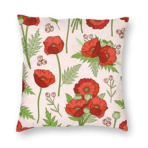 Harla Seamless Pattern With Poppies Bohemian Style Velvet Soft Decorative Square Throw Pillow Case Cushion Cover Pillowcase for Livingroom Sofa Bedroom with Invisible Zipper 20x20 Inches