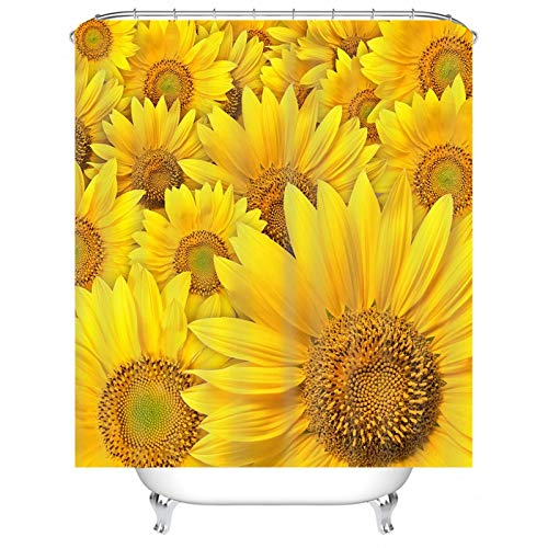 Cenliva Wasserdichter Duschvorhang, Duschvorhangs Gelb Badvorhang Sonnenblume Polyester