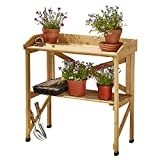 Garden Gear Two-Tier Wooden Potting Bench, Greenhouse Workstation & Staging, L80 x W40 x H84.5cm