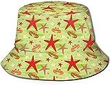 Unisex Fish Shell Anchor Starfish Travel Bucket Hat Gorra de Pescador de Verano Sombrero para el Sol Cangrejos y Estrellas de mar
