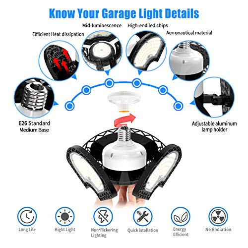 LED Garage Lights, 80W Deformable LED Garage Ceiling Lights 12000 LM CRI 80 Led Shop Lights for Garage, Garage Lights with 3 Adjustable Panels,Utility Led Garage Lighting,LED Light Bulbs for barn etc. 4