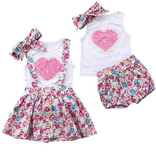 Puseky 3Pcs Baby Girls Sister Chaleco Corazon a juego + Diadema + Falda Floral Ligera Trajes de verano (Color : White+Pink, Size : Big Sister-4Y-5Y)