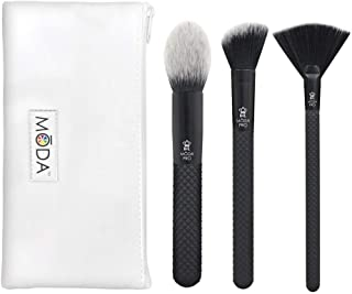 MODA Royal & Langnickel Pro Full Size Finishing 4pc Makeup Brush Set with Pouch, Includes - Pointed Blush, Angle Blush, an...