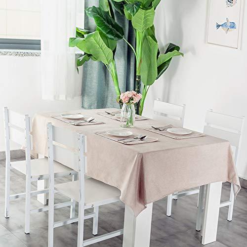 N/A Jinyuan Tovaglia Tinta Unita Impermeabile in Cotone di Cotone Resistente all'olio Tavolo da Pranzo tavolino tovaglia Rettangolare (Beige 140 * 140 cm)