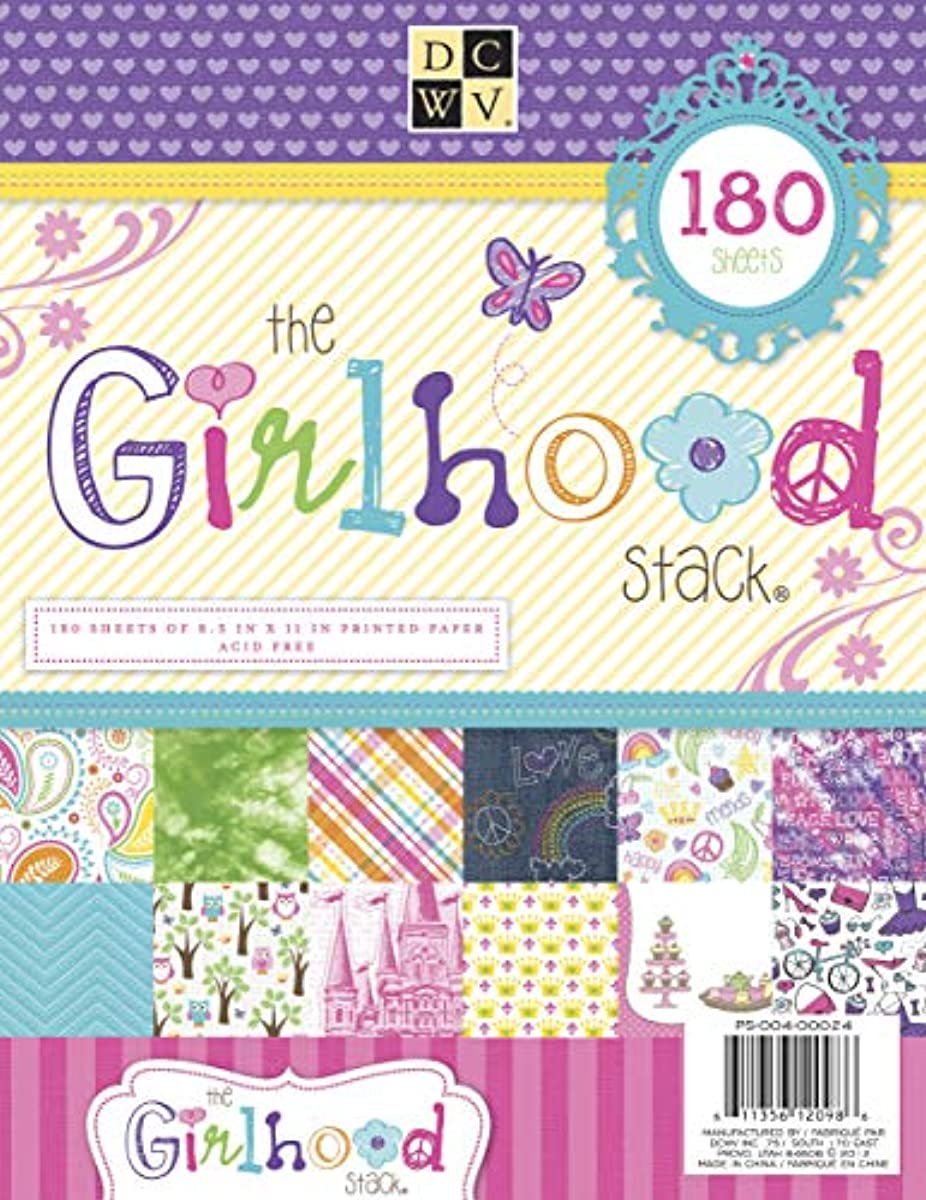 DCWV PS-004-00024 Cardstock Paper Girlhood Stack 8.5X11 180 Sheets Acid Free, Multicolor