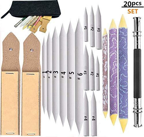 17 Pcs Blending Stumps and Tortillions Set 2 Pcs Sandpaper Pencil Sharpener and 1 Pencil Extension Tool Art Blenders Drawing Tools for Student Sketch Drawing