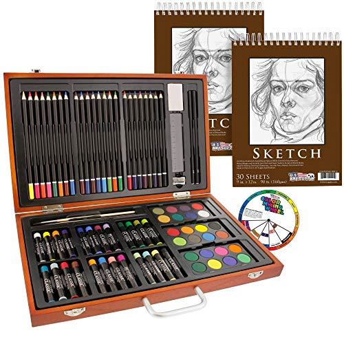 U.S. Art Supply 82 Piece Deluxe Art Creativity Set in Wooden Case with 9'x12' 90 Pound 30 Sheet Sketch Pad