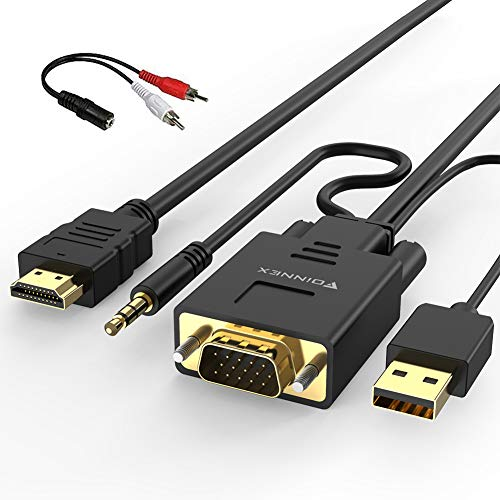 VGA auf HDMI Adapter Kabel mit Audio 1080P,(Von Alter Stil PC zu TV/Monitor mit HDMI Eingang),FOINNEX Aktiv VGA to HDMI in Stecker Cordon für Laptop mit VGA Ausgang(Out) zu Beamer Converter Cable,1.8M