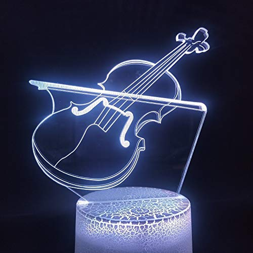 TYWFIOAV 3D lights for interior decoration, musical instruments, cello, youth gifts, direct LED night light touch sensor