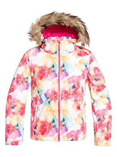 Roxy Mädchen Schneejacke Jet Ski - Schneejacke für Mädchen 8-16, Bright White Sunshine Flowers, 12/L, ERGTJ03075