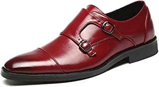 XueQing Pan Classic Oxford for Men Formal Wedding Shoes with Dual Monk Straps Slip on PU Leather Stitch Burnished Style Patchwork Pointed Toe (Color : Red, Size : 10.5 UK)