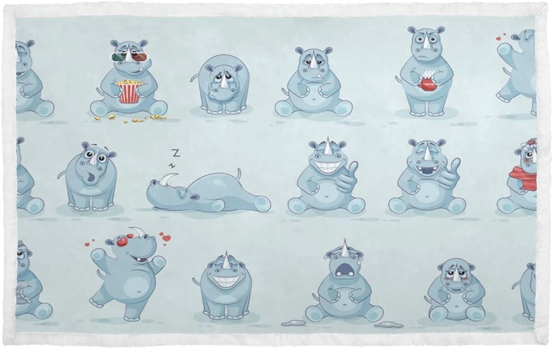 Omaha Mall Selling rankings Blanket for Dog Big Tough Rhino Small Cartoon Soft Polye