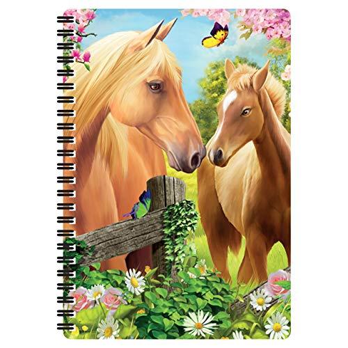3D LiveLife Libreta A5 - Pastos verdes de Deluxebase. 80 páginas de bloc de notas lenticular 3D de caballos e ilustraciones con licencia del reconocido artista Michael Searle