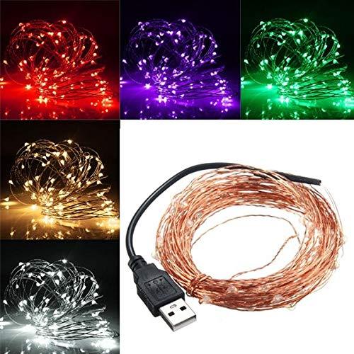 Lichten 1 0M 100 LED USB Koperdraad LED String Fairy Light voor Christmas Party Decor (Color : Pink)