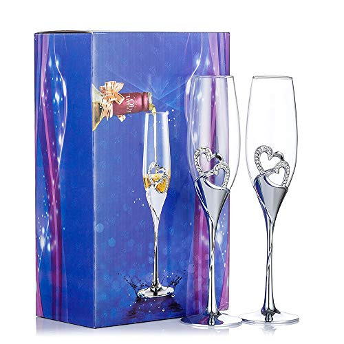 Juego de copas de champán con forma de corazón, color plateado