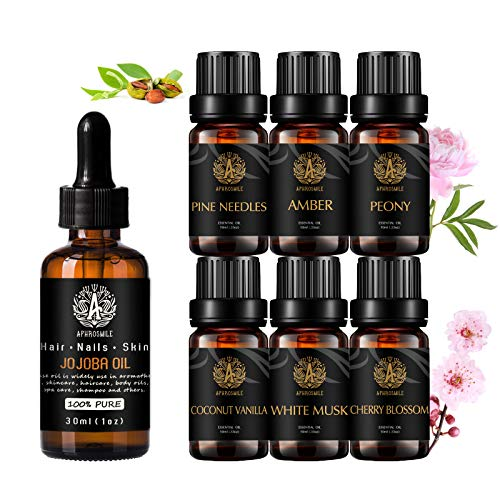 100% puro jojoba Aceite esencial, aromaterapia peonía aceite esencial con aceite portador para masaje, 7x10ml 100% puro agujas de pino Aceites set-amber, vainilla de coco, almizcle blanco aceites.