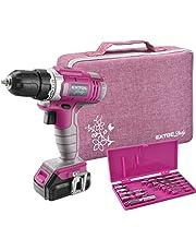 Extol Lady Accuboormachine, roze, 12 V Li-Ion, 1300 mAh, met transporttas incl. accessoires van 6 bits (langsgleuf, PH en PZ) en 6 boren (1-6 mm)