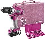 Extol Lady Akkubohrschrauber, Pink, 12V Li-Ion, 1300mAh, mit Transporttasche inkl. Zubehör von 6 Bits (Längsschlitz, PH und PZ) und 6 Bohrer (1-6mm)