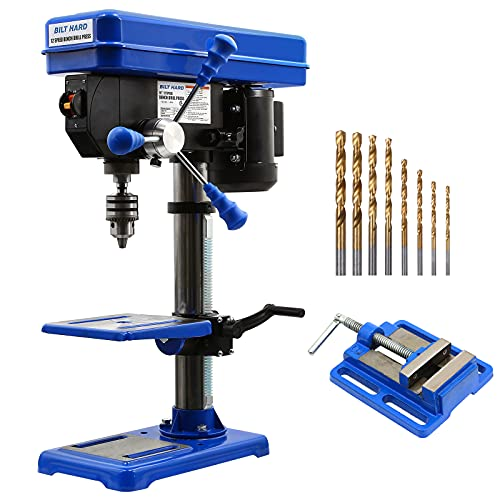 BILT HARD 10 inch 12-Speed Drill Press, Benchtop Drilling Machine, with Drill Vise & Bit Set, CSA Certified