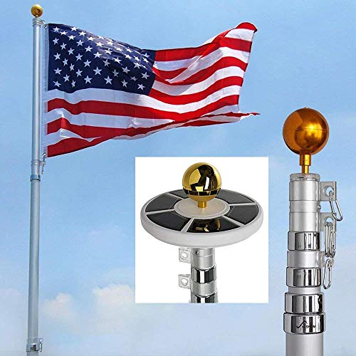 MegaBrand 25Ft / 20Ft Telescopic 16 Gauge Aluminum Flag Pole with Solar Lights (25 Ft)