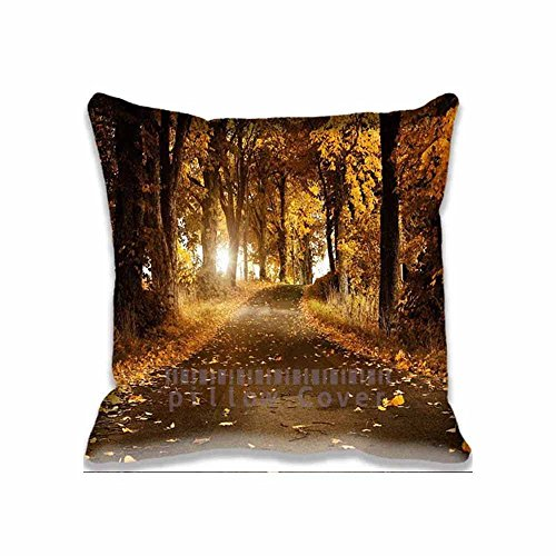 Home Decorative Throw Pillow Covers Cotton Polyester Square Pillow Cases Forest Road Couch Cushion Covers 18x18inch