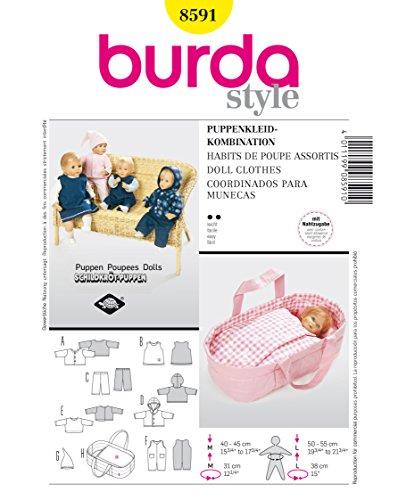 Burda Schnittmuster 8591 Puppenkleidung 40-45 cm & 50-55 cm