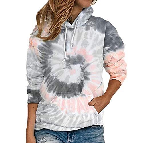 S.CHARMA Kapuzenpullover Damen Hoodie Batik Shirt Sweatshirt Langarm Crop Pullover Tops Bluse mit Tasche