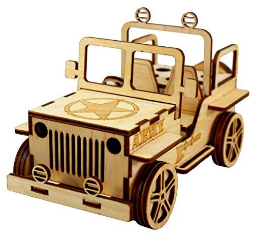 StonKraft 3D-Jeep aus Holzpuzzle Schreibtisch-Organiser, Stifthalter, Kartenhalter - einfach zu montieren 3D-Holzpuzzle - Bausatz für Schulprojekt