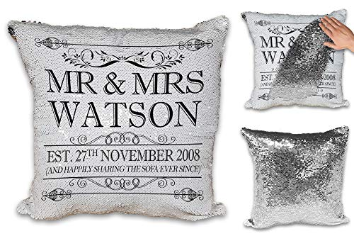 Personalised Happily Sharing The Sofa Together Anniversary Novelty Sequin Reveal Magic Cushion Cover (Black Design)
