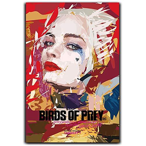 DRAGON VINES Harley Quinn Leinwand-Poster, Wandkunst, Dekor-Poster, Vogelmotiv, Kolibri, Joker Suicide Squad, Film Justice League Margot Elise Robbie, 30,5 x 45,7 cm