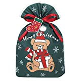 インディゴ クリスマス ラッピング袋 グリーティングバッグL ギフトベア ダークグリーン ミニカード付 XG084