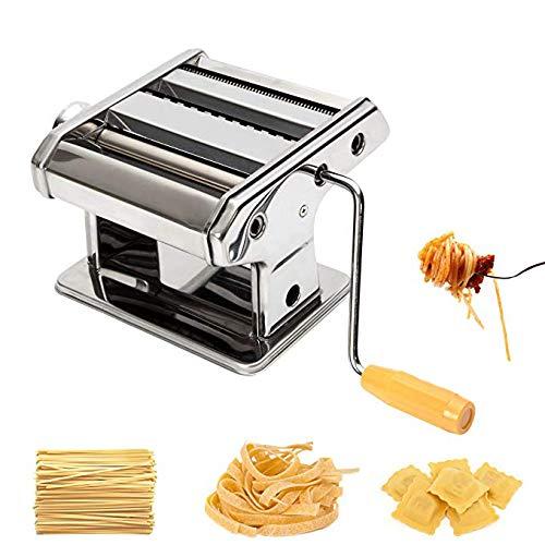 EBTOOLS máquina para hacer pasta, 3 en 1, de acero inoxidable, cortador de pasta fresca, máquina de pastelería, con mango de manivela y abrazadera, para espagueti, lasaña, tagliatelle