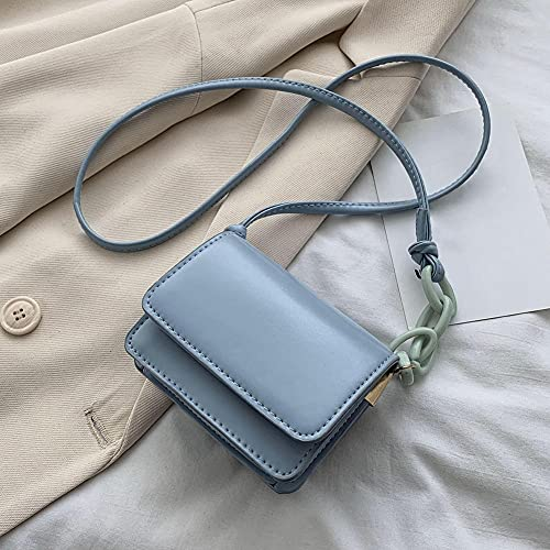 FWJSDPZ Mini Small Square bag Quality PU Leather Women's Handbag Classic Elegant Sling Shoulder Messenger Bags (Color : Blue)
