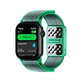 AURA Strap Body Composition and Hydration Level Fitness Tracker Band for Apple Watch Compatible, 42mm 44mm, Mint Green