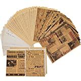144 Pieces Junk Journal Pages Antique Writing Papers Retro Style Book Pages Material Paper Vintage Kraft Paper Craft Background Paper for DIY Scrapbooking, Card Making and Bookbinding