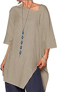 YIhujiuben Women T-Shirt Casual Loose Irregular 3/4 Sleeve Loose Blouse Top