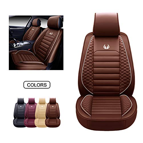 OASIS AUTO Leather Car Seat Covers, Faux Leatherette Automotive Vehicle Cushion Cover for Cars SUV Pick-up Truck Universal Fit Set for Auto Interior Accessories (OS-011 Front Pair, Brown)
