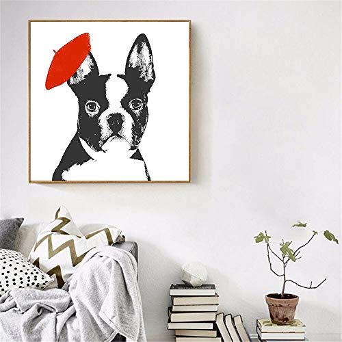 adgkitb canvas Leinwandbilder für Wohnzimmer Hund Brille Kappe Wandbilder für Wohnzimmer Kinderzimmer Decor40x40cm KEIN Rahmen