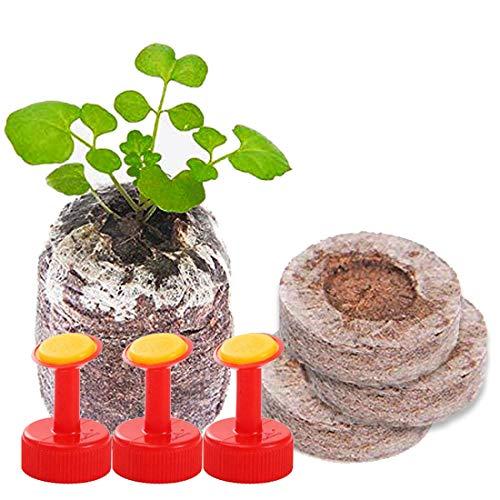 Fengcheng - Bloque de suelo de semillas (30 mm), granulado de suelo de turba para el cultivo de plantas de jardinería, plantas de multiplicación y germinación (con 3 boquillas prácticas) (Menge 30)