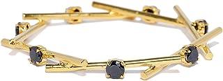 PRITA Designer Gold& Black Artificial Stones Gold Plated Bangle-Style Bracelet for Women and Girls